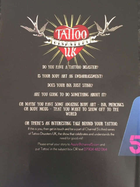 Channel 5 TV series - Tattoo Disasters